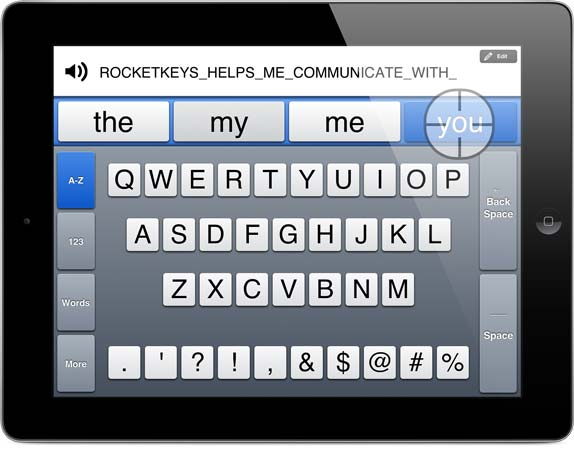 RocketKeys running on an iPad